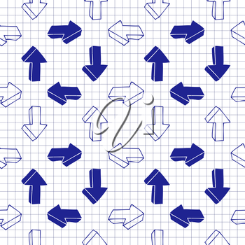 Seamless background of hand drawn arrow icons turning clockwise, pen drawn effect.