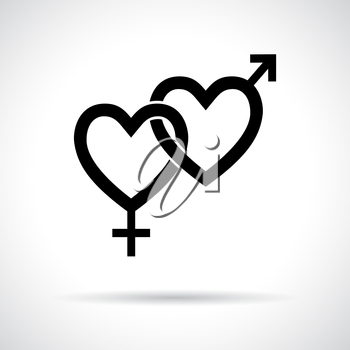 Couple gender icon. Black flat symbol with shadow