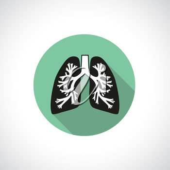 Lungs, round icon. Flat modern design with long shadow.