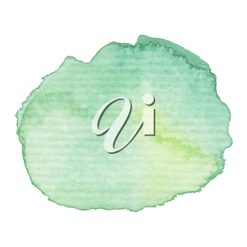Hand painted watercolor blob. High resolution high quality. Green bright colors. Abstract spring summer season background. Round graphic design element isolated on white. Vector illustration.