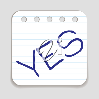 Doodle YES word icon. Blue pen hand drawn infographic symbol on a notepaper piece. Line art style graphic design element. Web button with shadow. Agreement, support, saying yes, positive concept.