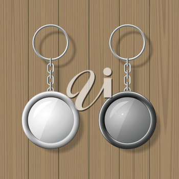 Two key chain pendants on wooden background. Blank template. Business identity mock up. Vector illustration.