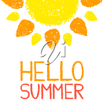 Hello Summer poster. Hand painted with oil pastel crayons. Bright fun card, invitation template. Yellow and orange sun and red text. Abstract graphic design on white background. Vector illustration