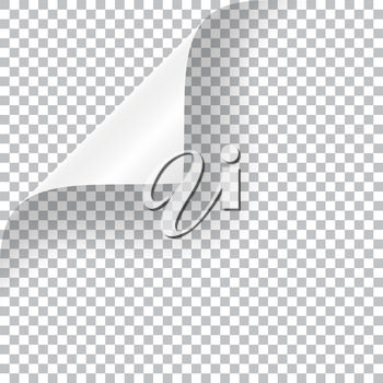 Curly Page Corner realistic illustration with transparent shadow. Ready to apply to your design. Graphic element for documents, templates, posters, flyers.