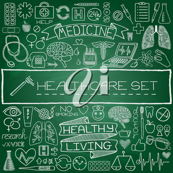 Hand drawn medical set of icons with medical and science tools, human organs, diagrams etc. Green chalkboard effect. Vector illustration.