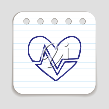 Doodle HEART RATE icon. Blue pen hand drawn infographic symbol on a notepaper piece. Line art style graphic design element. Web button with shadow. Cardiogram, heart beat concept.