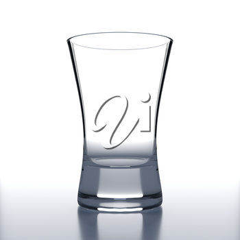 Empty Vodka Glass on white background. Alcoholic cocktail glassware. 3D illustration.