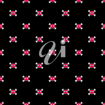 Seamless Halloween pattern. Wallpaper with pink skulls on black background. Tileable backdrop with Halloween symbols. Vector illustration.