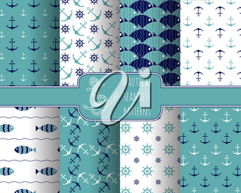 Set of 8 seamless nautical patterns with anchors, ship wheels, fish and waves. Design elements for printables, wallpaper, baby shower invitation, birthday card, scrapbooking, fabric print.