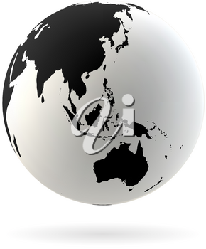 Highly detailed Earth globe symbol, Australia, Indian and Pacific oceans. Black on white background.