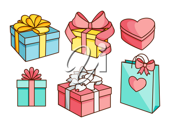 Doodle set of gift boxes with bows, heart shaped box, gift bag. Hand drawn presents collection. Graphic design elements for Valentine's Day, birthday, shopping flyer, sale poster. Vector illustration