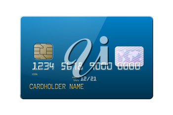 Highly detailed realistic blue glossy credit card. Front side mockup set. Place for your own design. Graphic design element for shopping advertisement, web shop payment method. Vector illustration