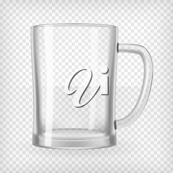 Empty beer mug. Realistic transparent vector illustration.