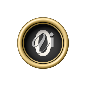 Number 0. Vintage golden typewriter button isolated on white background. Graphic design element for scrapbooking, sticker, web site, symbol, icon. Vector illustration.