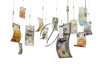 Euro and dollar bills on fishing hooks, isolated on white background. Catching cash, investment, winning a lottery concept. 3D illustration