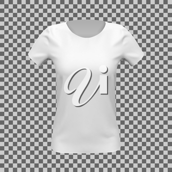 Blank mockup of white basic women t-shirt, front view, on checkered background. Vector illustration