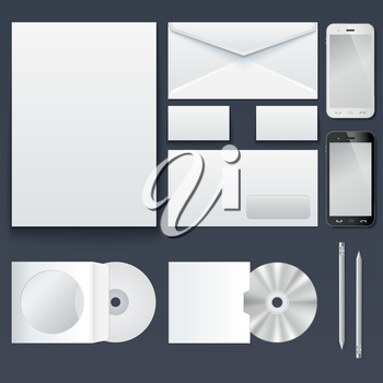 Corporate identity templates � blank, business cards, disk, envelope, smart phone, pen. Isolated with soft shadows