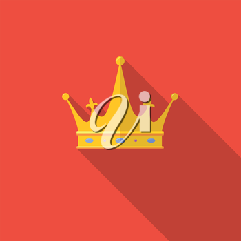 Golden crown on red background with long shadow. Flat icon.