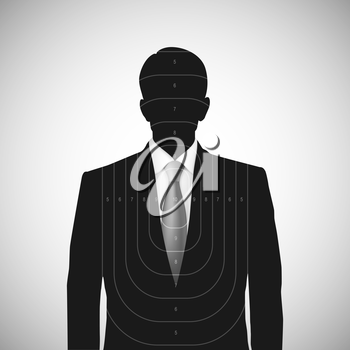 Human silhouette target. Unknown person, silhouette profile