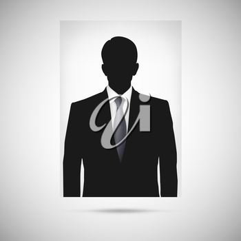 Profile picture whith tie. Unknown person silhouette, silhouette profile