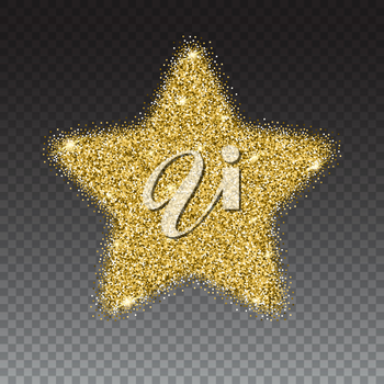 Icon of Five-pointed star with gold sparkles and glitter, glow light, bright sequins, sparkle tinsel, shimmer dust. Five-pointed star sign isolated on transparent background