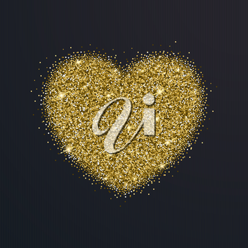 Icon of Heart with gold sparkles and glitter, glow light confetti, bright sequins, sparkle tinsel, shimmer dust. Heart sign isolated on black background