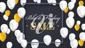 Black Friday Sale Poster with shiny balloons on dark Background with golden, glitter lettering and frame. Vector illustration. Black sale background.