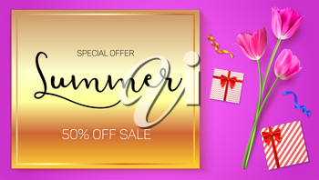 Summer sale advertisement poster on a gold background with flowers of tulips, boxes from gifts and purchases. 50 percent of discount. Shop now. Horizontal image in the proportions of HD videos.