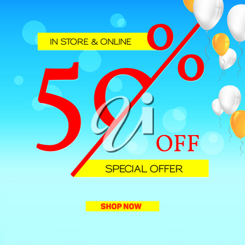 Summer sale. Get up fifty percent discount. Banner of sales on summer sky background with flying balloons. Special offer proposition in store and online for all goods.Template for business, cover