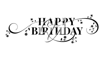 Happy birthday lettering text design. Floral decorative style of calligraphy, birthday card. Hand drawn invitation, T-shirt print design. Vector brush lettering isolated on white background.