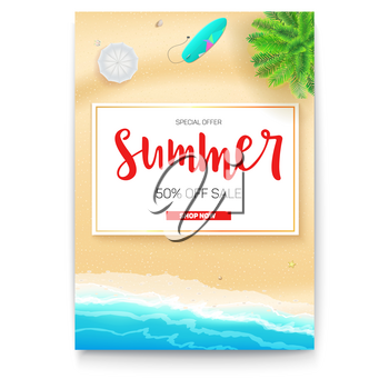 Poster with summer beach seashore for touristic events, travel agency actions. Summer sale banner with fifty percent discount. Tropical landscape, ocean, gold sand, sun umbrella, surfboard, top view.