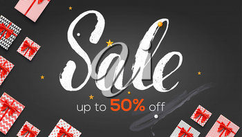 Sale. Ads banner template with present boxes. Up to 50 percent off. Handwritten calligraphic lettering on chalkboard. Vector illustration for retail, online shopping, discount actions.