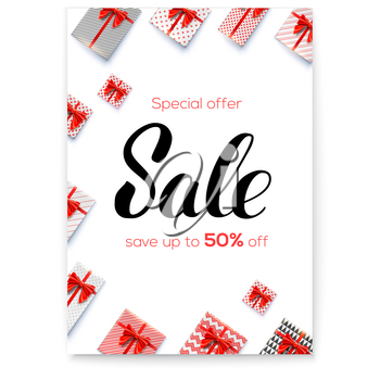 Sale. Gift boxes with red ribbons and bows on white. Great discount up to 50 percent off. Calligraphic lettering of brush pen. Vector illustration for retail online shopping holidays discount actions