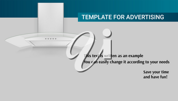 Template with kitchen hood of air for advertisement on horizontal long backdrop, 3D illustration. The example of registration of the advertising message. Icon of cooker hood with template of text.