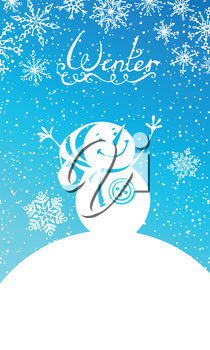Snowman and snowflakes. Hand-written text. There are places for your text in the sky and on the Earth. All objects are on separate layers for easy edit. EPS 8.
