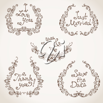 Decorative elements with text isolated on light paper background. Retro design.