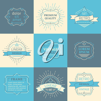 Retro linear badges, labels, ribbons, frames and emblems. There is place for your text.