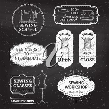 Sewing and fashion. Retro linear badges, labels, ribbons, frames and emblems on blackboard background. There is place for your text.