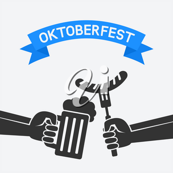 Oktoberfest concept. Hand with beer mug and sausage. vector illustration - eps 8