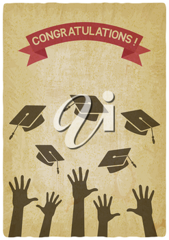 students throw graduation caps vintage background. vector illustration - eps 10