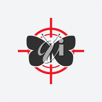 Butterfly black silhouette on a red target. Vector illustration