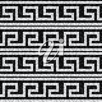 stylized waves black and white mosaic seamless pattern in antique roman style. vector illustration - eps 10