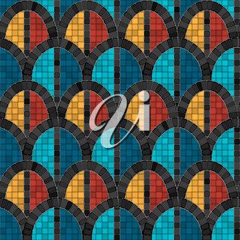 black arch mosaic seamless pattern in antique roman style. vector illustration - eps 10