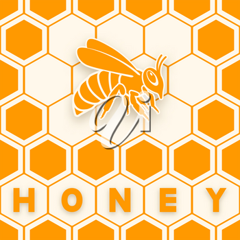 Honey bee sticker silhouette on honeycomb background. vector illustration - eps 10