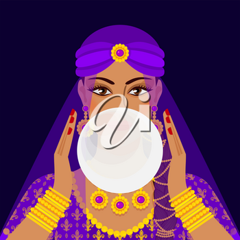 fortune teller with crystal ball. vector illustration - eps 10