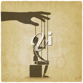 sitting puppet with his hand up vintage background. vector illustration - eps 10