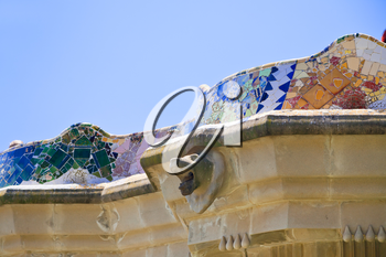 BARCELONA, SPAIN - APRIL,26: architectural elements in Park Guell on April 26, 2012 in Barcelona. It was designed by the Catalan architect Antoni Gaudi and built in the years 1900 to 1914