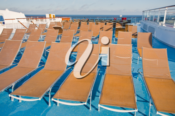 outdoor relaxation area on stern of cruise liner