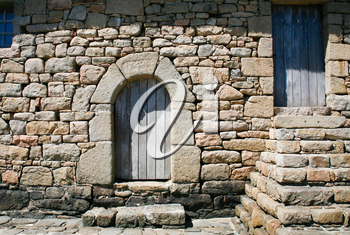 doors in old Breton house on Ile de Brehat, Brittany France