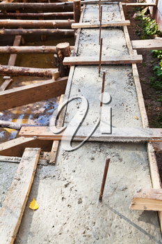 wooden formwork concrete foundation of house